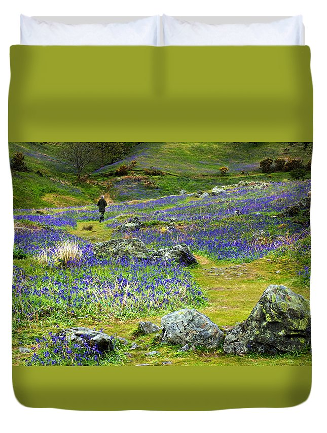 Lake District Duvet Cover featuring the photograph Walk Among The Bluebells by Susan Tinsley