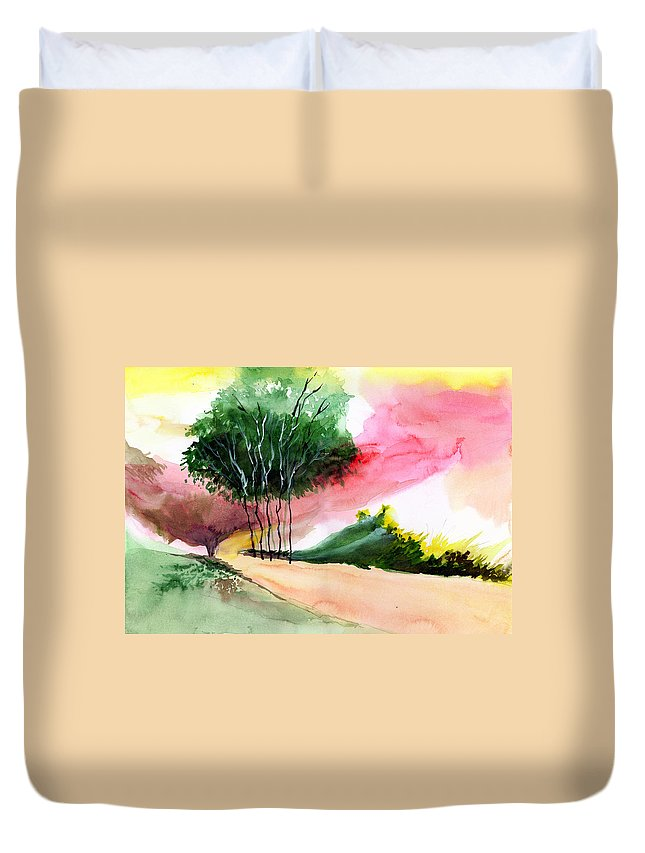 Watercolor Duvet Cover featuring the painting Walk Away by Anil Nene