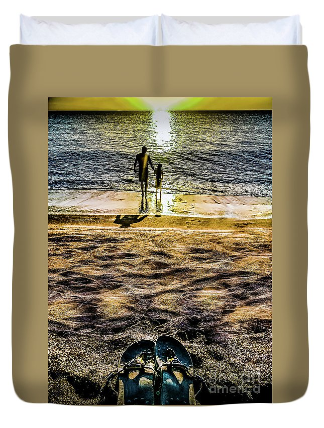Father Duvet Cover featuring the photograph Walk By The Sea by Margaux Dreamaginations