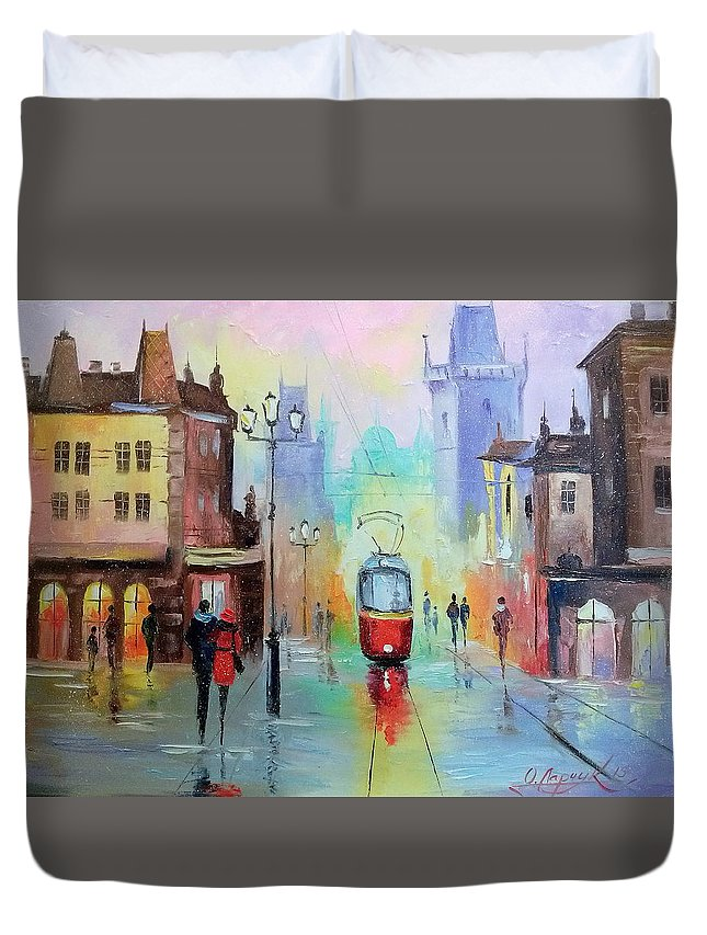 Walk In Prague Duvet Cover featuring the painting Walk In Prague by Olha Darchuk