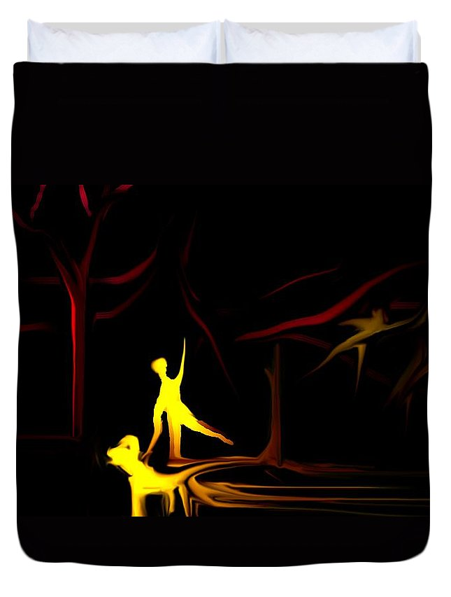Abstract Digital Painting Duvet Cover featuring the digital art Walk In The Dog Park by David Lane