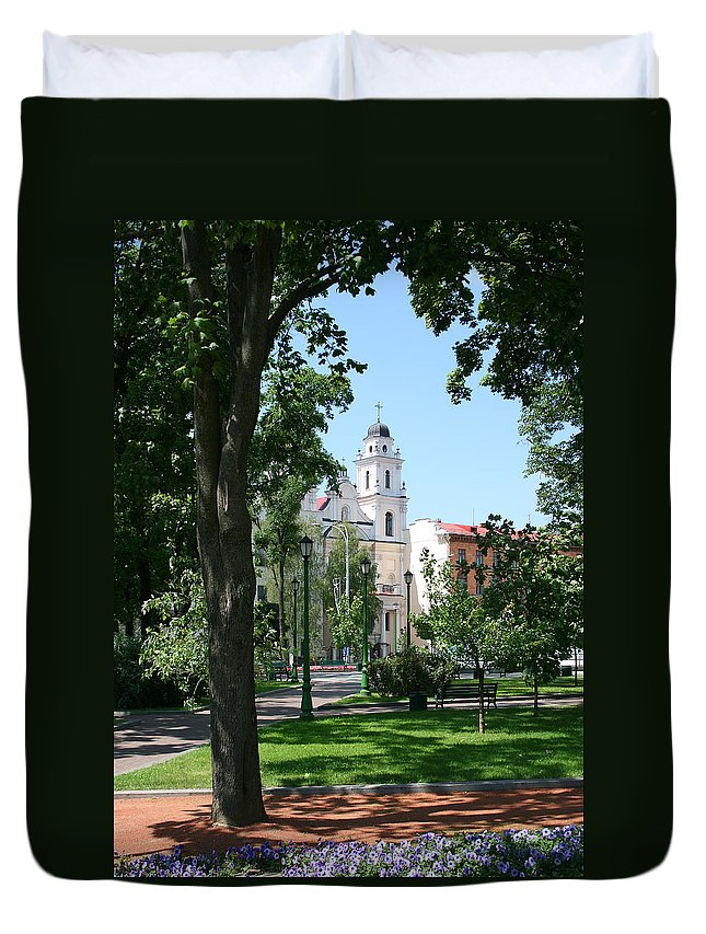 Park City Tree Trees Flowers Church Building Summer Blue Sky Green Walk Bench Duvet Cover featuring the photograph Walk In The Park by Andrei Shliakhau