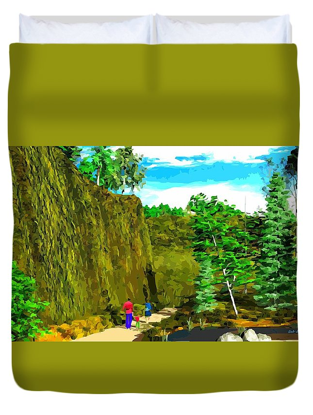 Landscape Duvet Cover featuring the digital art Walk In The Woods by Bob Shimer