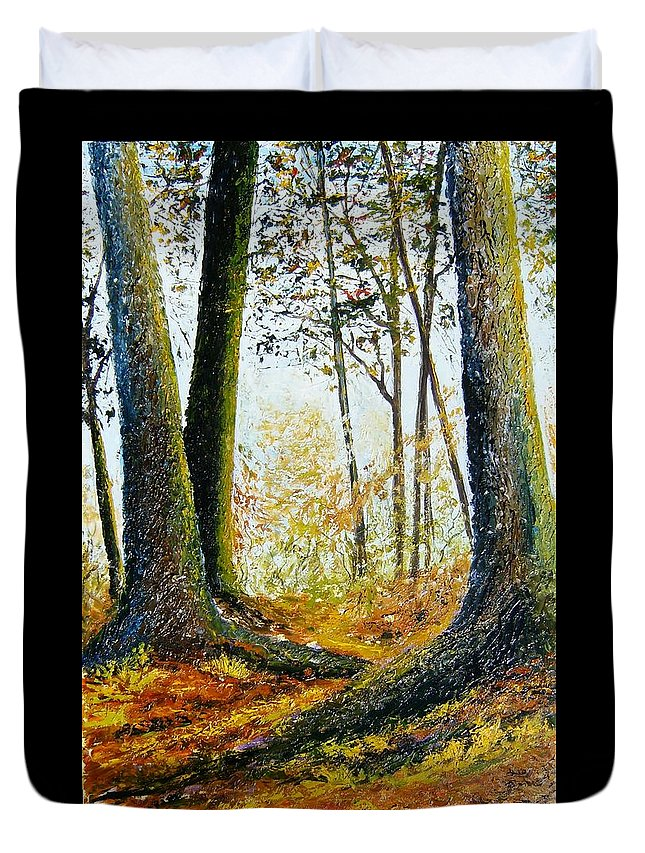 Landscape Duvet Cover featuring the painting Walk In The Woods by Tami Booher