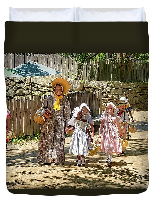 Old Sturbridge Village Duvet Cover featuring the photograph Walk To School by Thomas Ozga