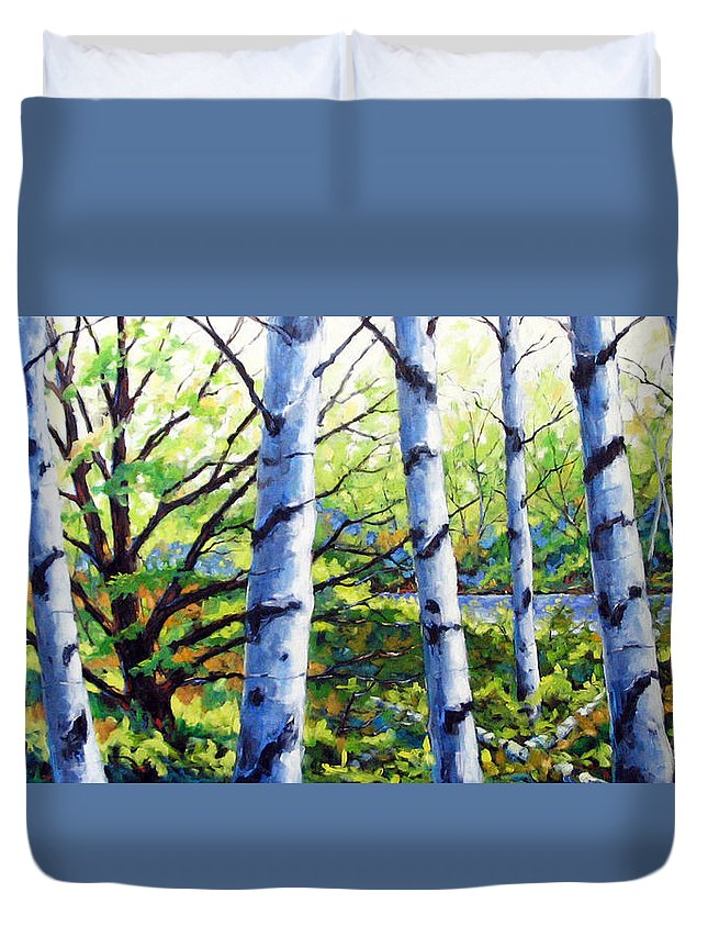 Lake Duvet Cover featuring the painting Walk To The Lake by Richard T Pranke