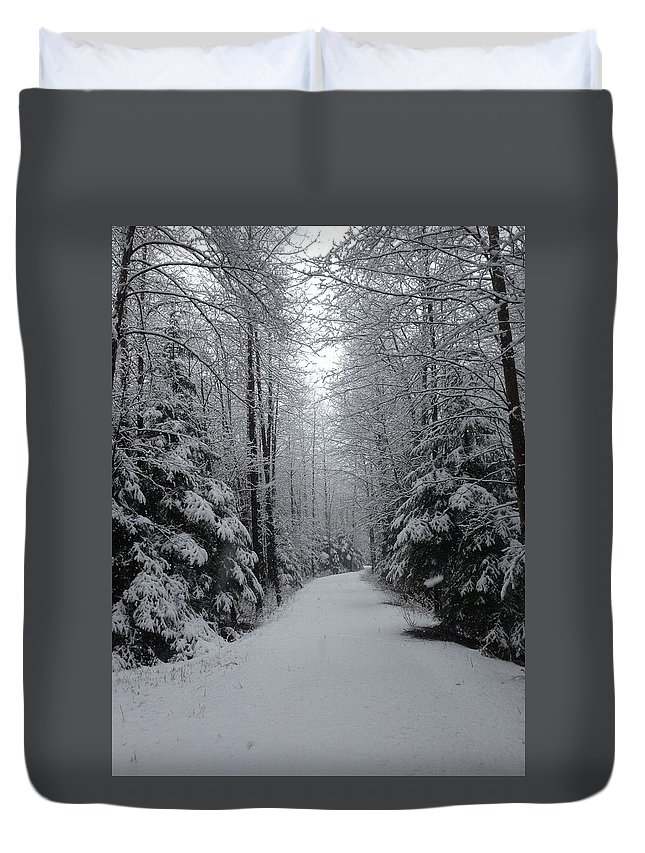 Snow Duvet Cover featuring the photograph Walk With Frost by Erik Roeser