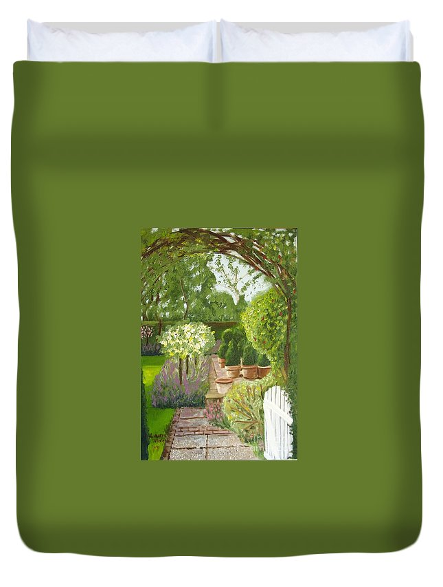Garden Duvet Cover featuring the painting Walk With Me by Laurie Morgan
