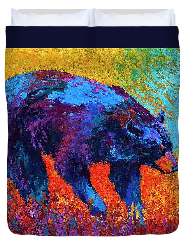Bear Duvet Cover featuring the painting Walkabout by Marion Rose