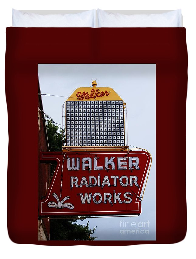 Sign Duvet Cover featuring the photograph Walker Radiator Works by Robert Wilder Jr
