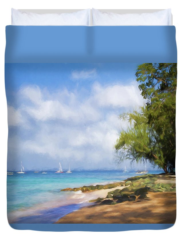 Barbados Duvet Cover featuring the photograph Walking Along The Beach, Holetown, Barbados by Eric Drumm