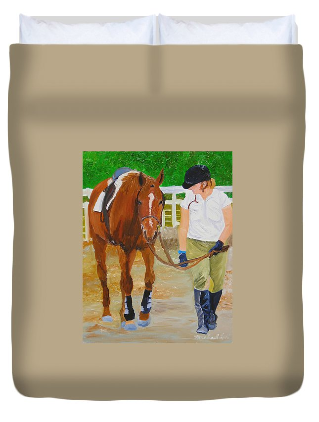 Strian Art Duvet Cover featuring the painting Walking Back To The Stable by Michael Lee