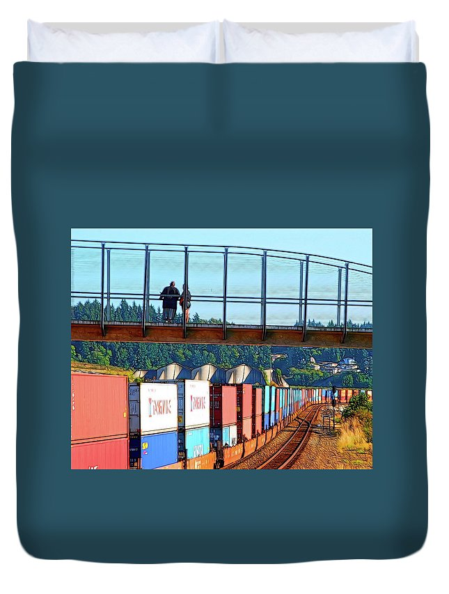Abstract Art Duvet Cover featuring the photograph Walking Bridge Over The Tracks by David Coleman