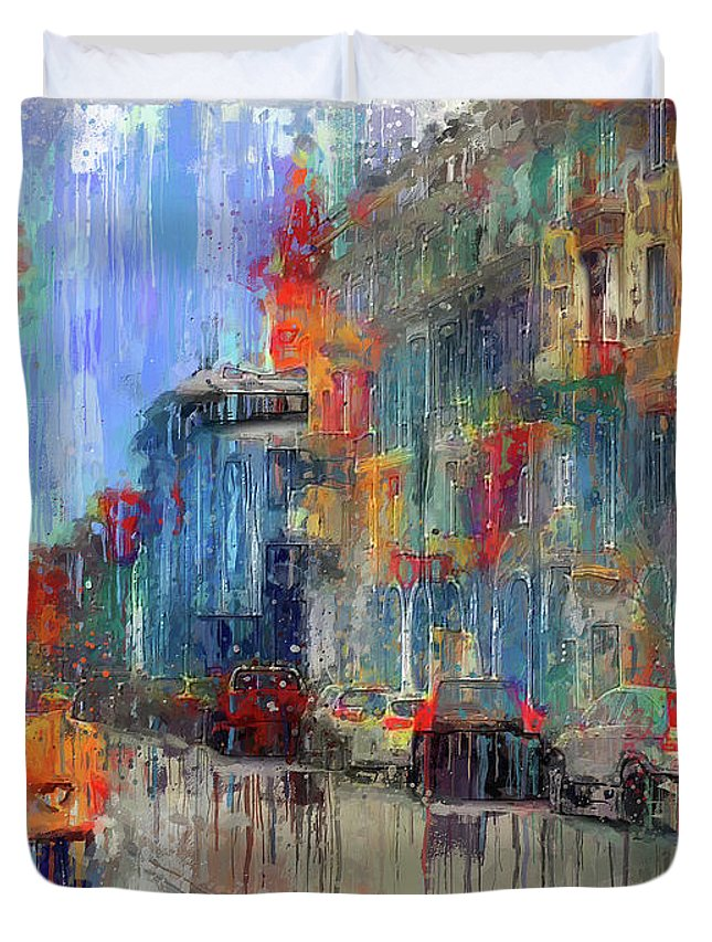 Old Duvet Cover featuring the digital art Walking Down Street In Color Splash by Yury Malkov