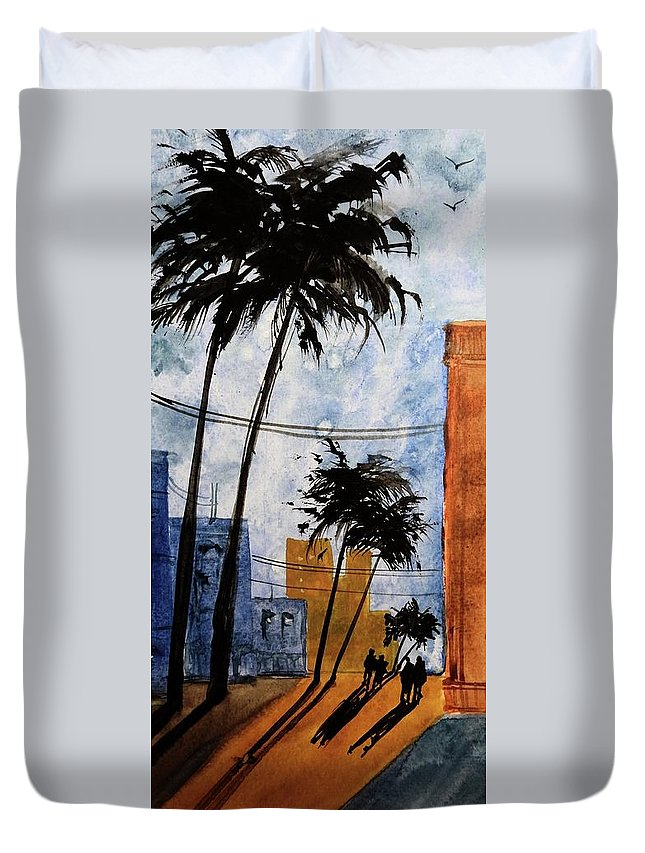 Open Impressionism Duvet Cover featuring the painting Walking Home, Watercolor by David K Myers