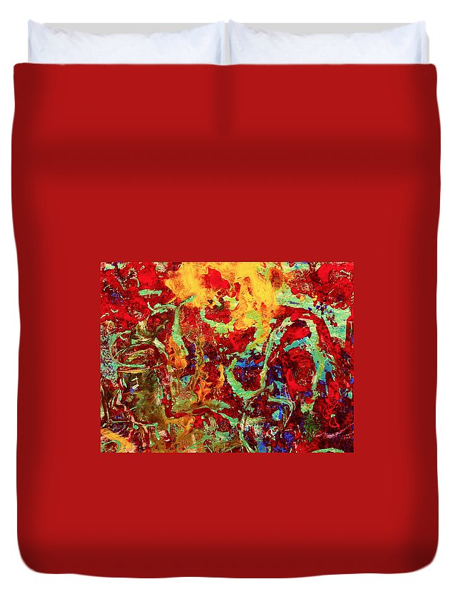 Abstract Duvet Cover featuring the painting Walking In The Garden by Natalie Holland