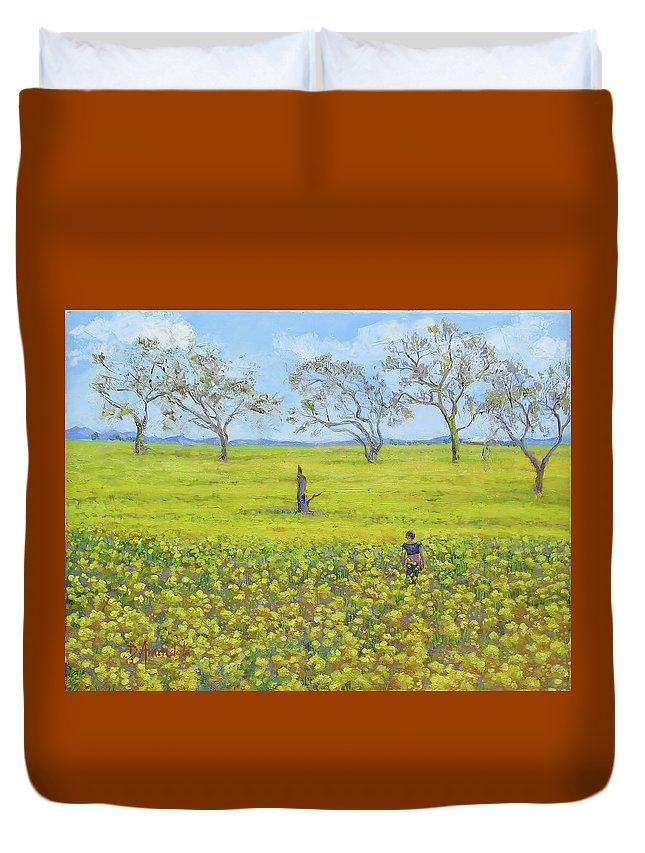 Oil Painting Duvet Cover featuring the painting Walking In The Mustard Field by Dominique Amendola