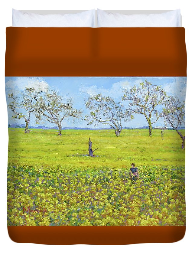 Landscape Duvet Cover featuring the painting Walking In The Mustard Field by Dominique Amendola