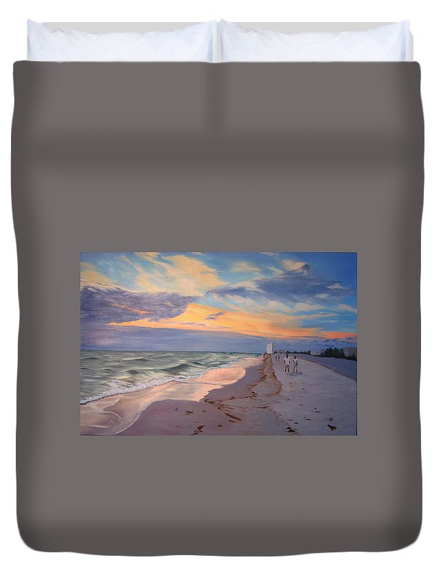 Seascape Duvet Cover featuring the painting Walking On The Beach At Sunset by Lea Novak