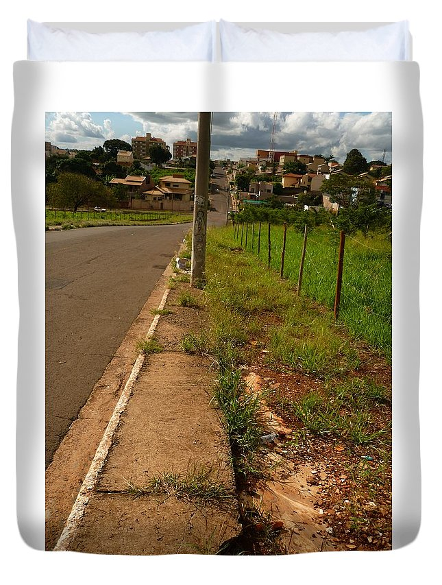 City Duvet Cover featuring the photograph Walking On The Curb by Beto Machado