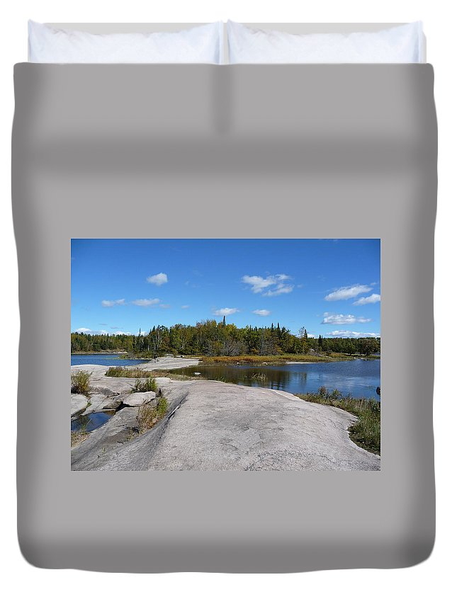Rocks Duvet Cover featuring the photograph Walking On The Whale's Back by Ruth Kamenev