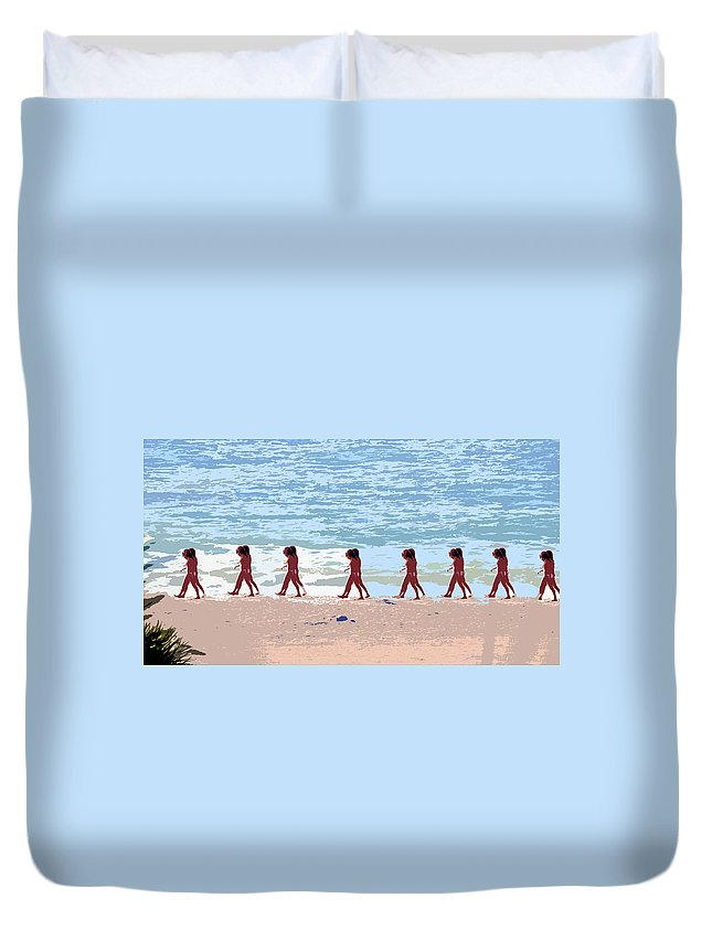 Pop Art Duvet Cover featuring the painting Walking The Beach by David Lee Thompson
