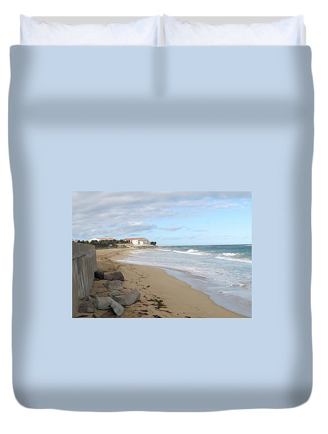 Clouds Duvet Cover featuring the photograph Walking The Beach In St Kitts by Ian MacDonald