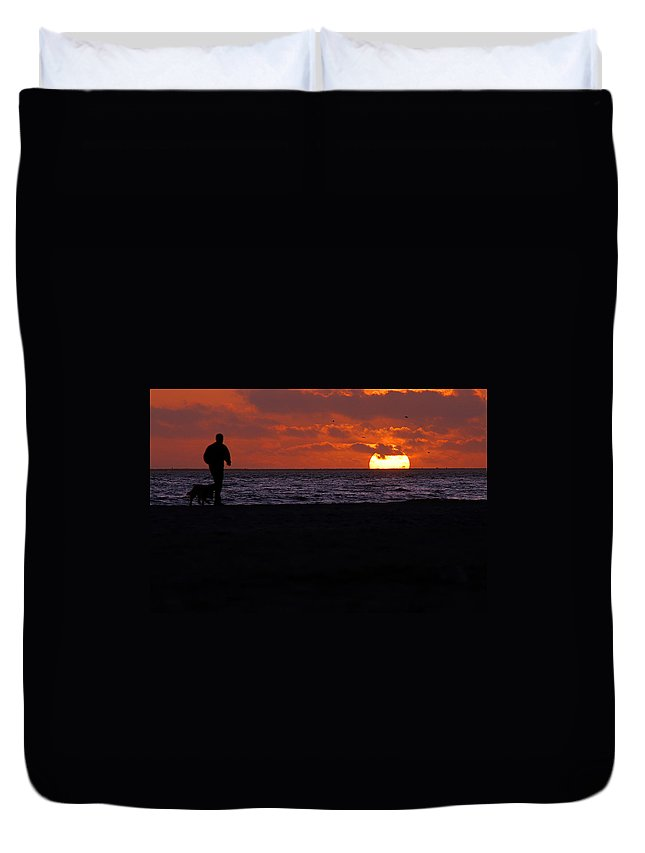 Clay Duvet Cover featuring the photograph Walking The Dog by Clayton Bruster