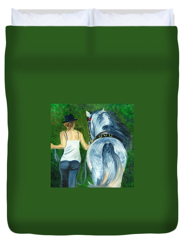 Equestrian Duvet Cover featuring the painting Walking To The Stable by Michael Lee