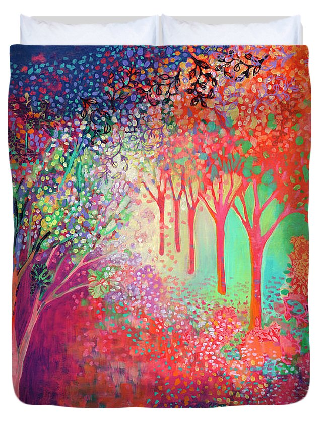 Tree Duvet Cover featuring the painting Walking Toward The Light by Jennifer Lommers
