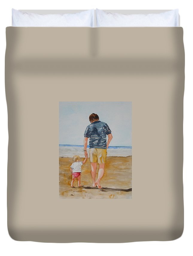Beach Duvet Cover featuring the painting Walking With Pops by Jean Blackmer