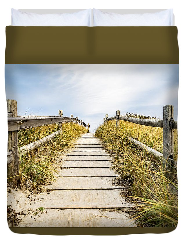 Beach Duvet Cover featuring the photograph Walkpath To The Beach by Enrico Della Pietra