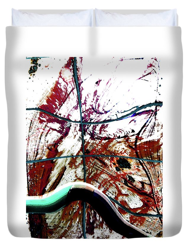 Abstract Duvet Cover featuring the digital art Walkway Between Global Wars-a History by Lenore Senior
