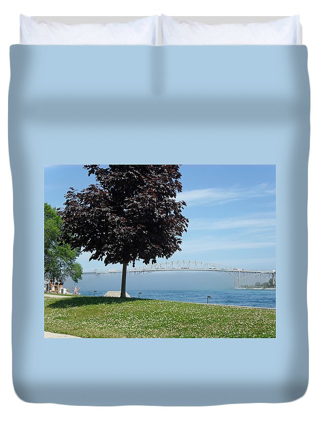 Bluewater Bridge Duvet Cover featuring the photograph Wall Of Fog by Peggy King