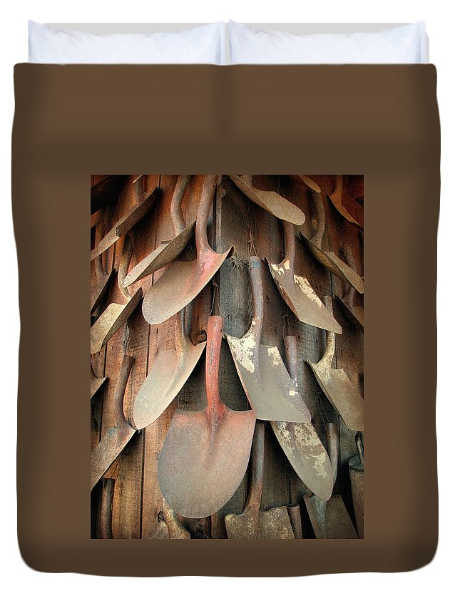 Wall Of Shovels Duvet Cover featuring the photograph Wall Of Shovels by Lisa S Baker