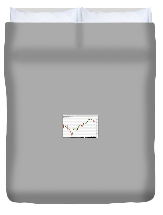 Stock Trader Duvet Cover featuring the painting Wall Street 1 Hour Chart 08/08/2018 Close by Luis Ludzska