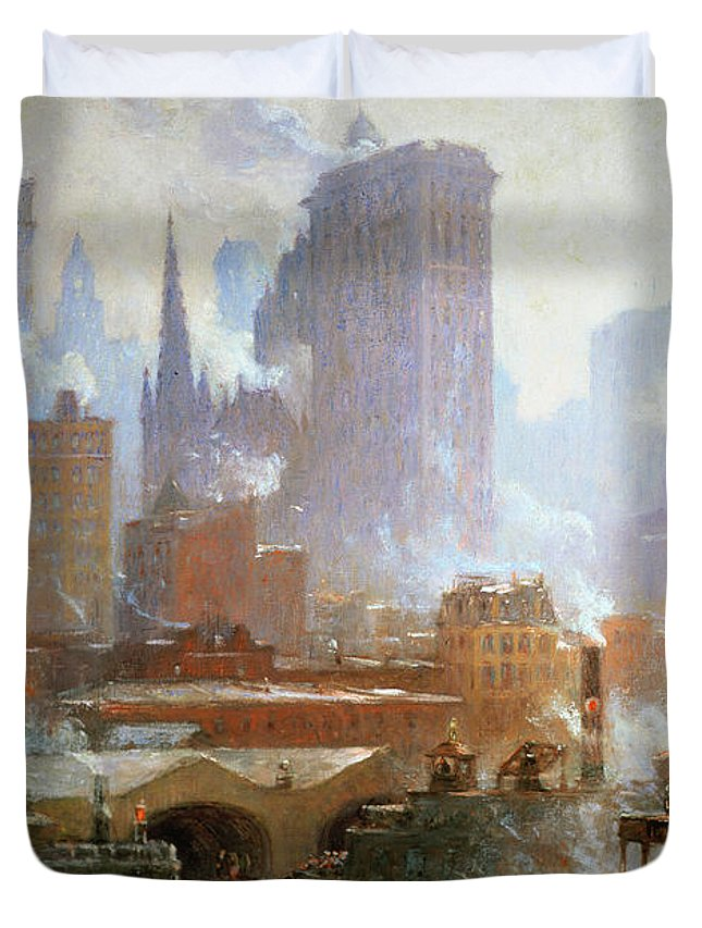Wall Street Ferry Ship (oil On Canvas) By Colin Campbell Cooper (1856-1937)new York City; Smoke; Cityscape; Urban Landscape; Financial District; Manhattan; Ny Duvet Cover featuring the painting Wall Street Ferry Ship by Colin Campbell Cooper