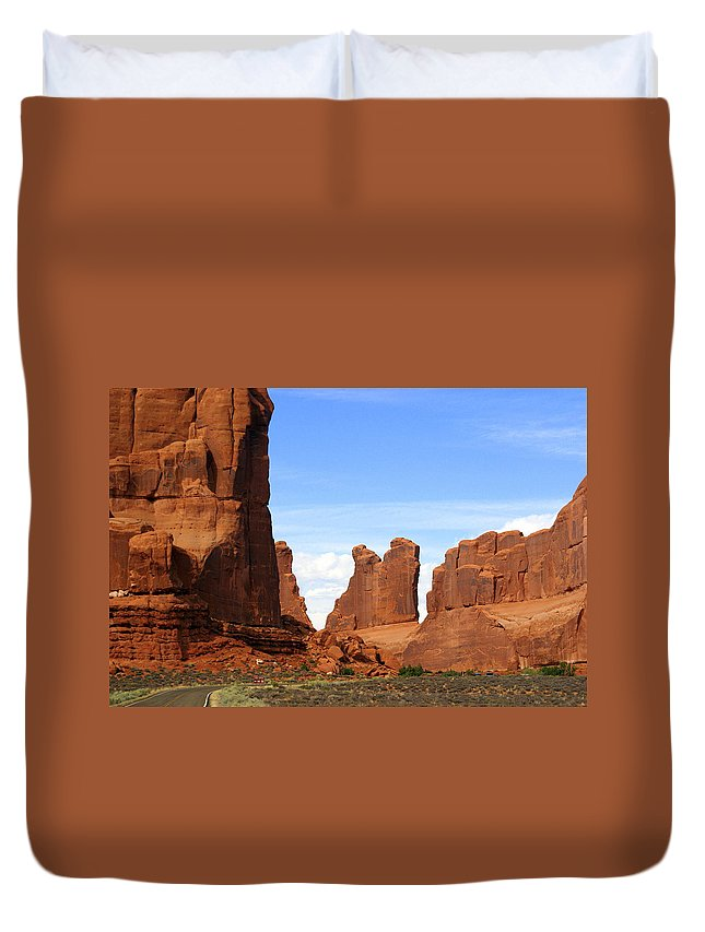 Southwest Art Duvet Cover featuring the photograph Wall Street by Marty Koch