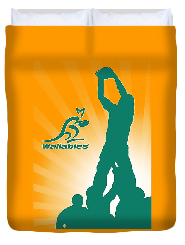 Rugby Duvet Cover featuring the digital art Wallabies Rugby by Wayne Doni