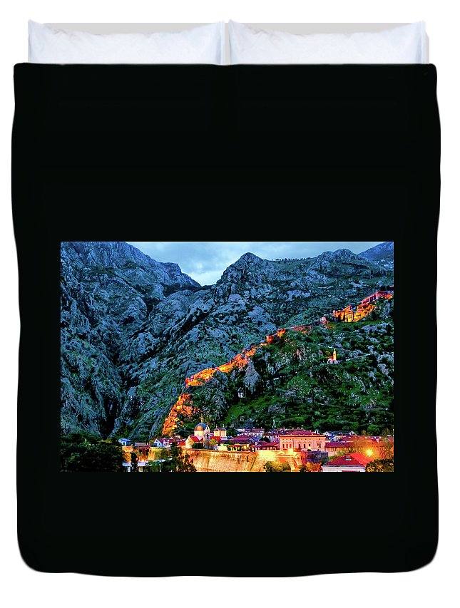 Adriatic Duvet Cover featuring the photograph Walled City by Maria Coulson