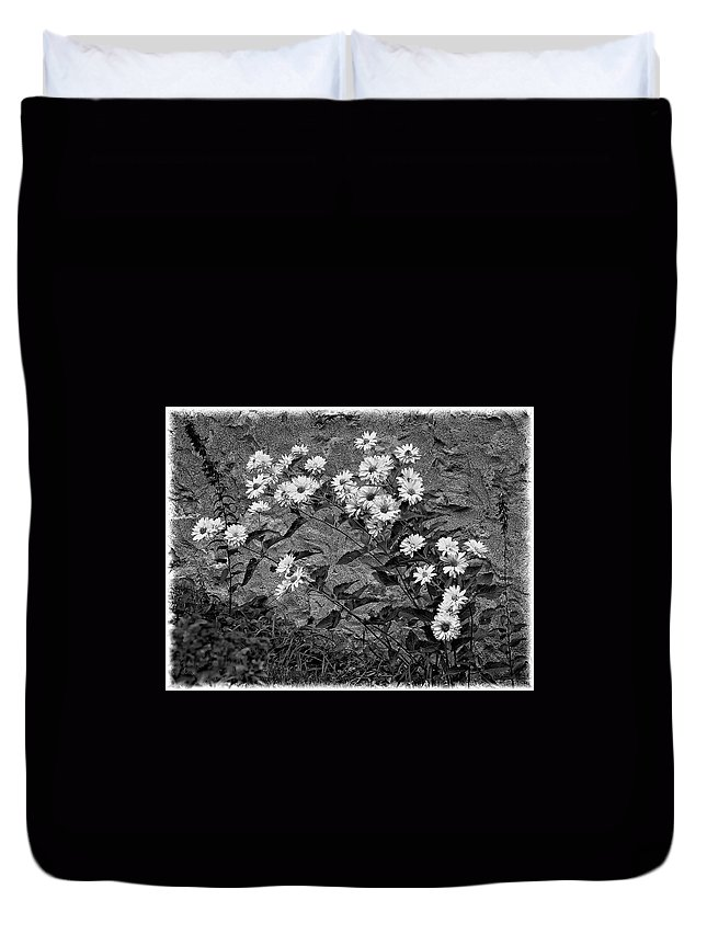 Flower Duvet Cover featuring the photograph Wallflower Ain't So Bad Bw by Steve Harrington