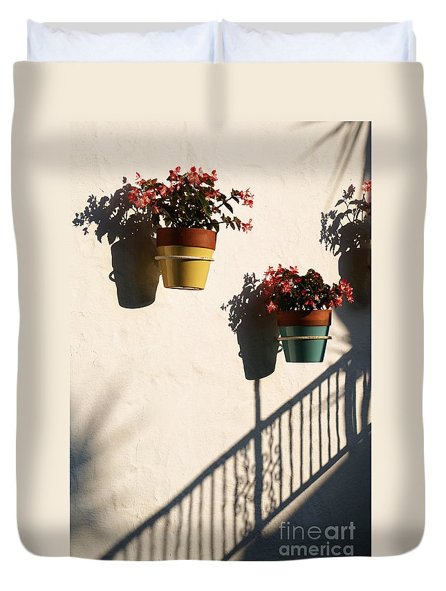 Flowers Duvet Cover featuring the photograph Wallflowers by Linda Shafer