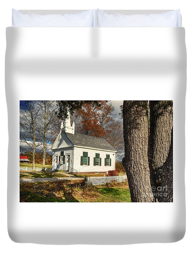 Church Duvet Cover featuring the photograph Walnut Grove Baptist Church1 by Mim White