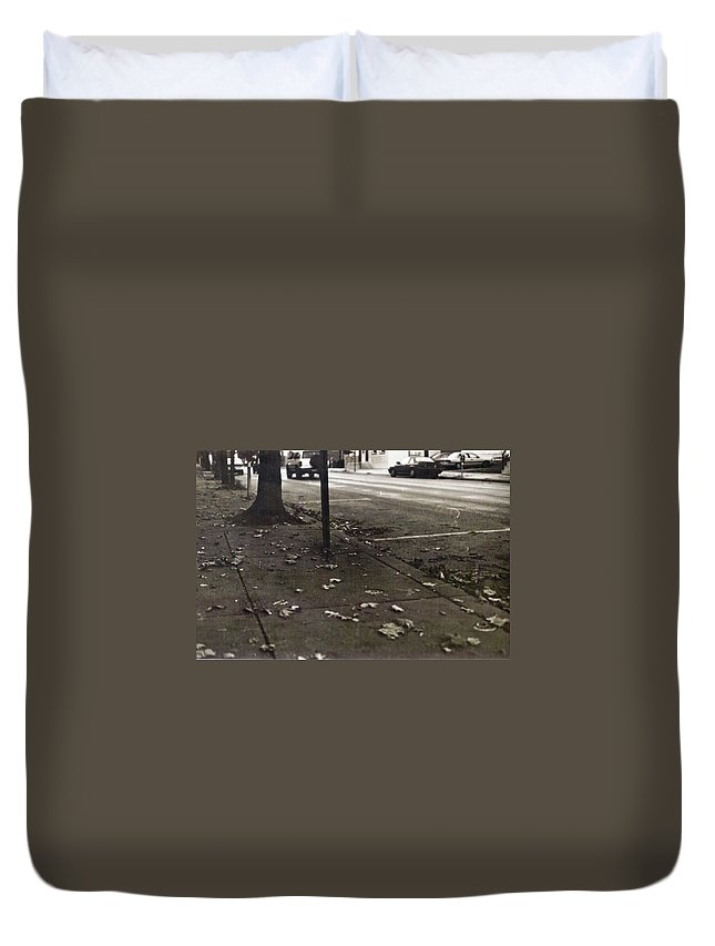 Black And White Photograph Duvet Cover featuring the photograph Walnut Street by Thomas Valentine