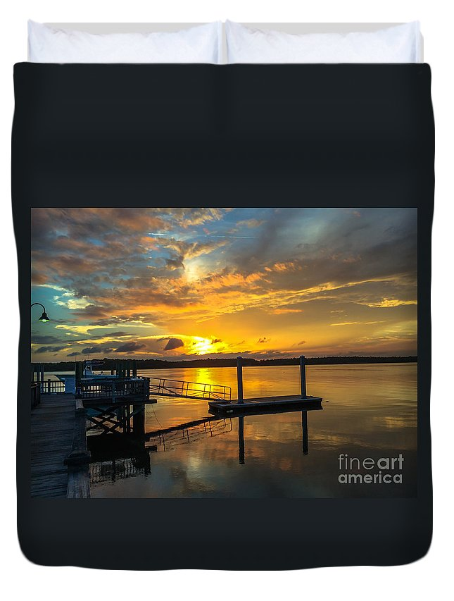 Wando River Duvet Cover featuring the photograph Wando River August Sunset by Dale Powell