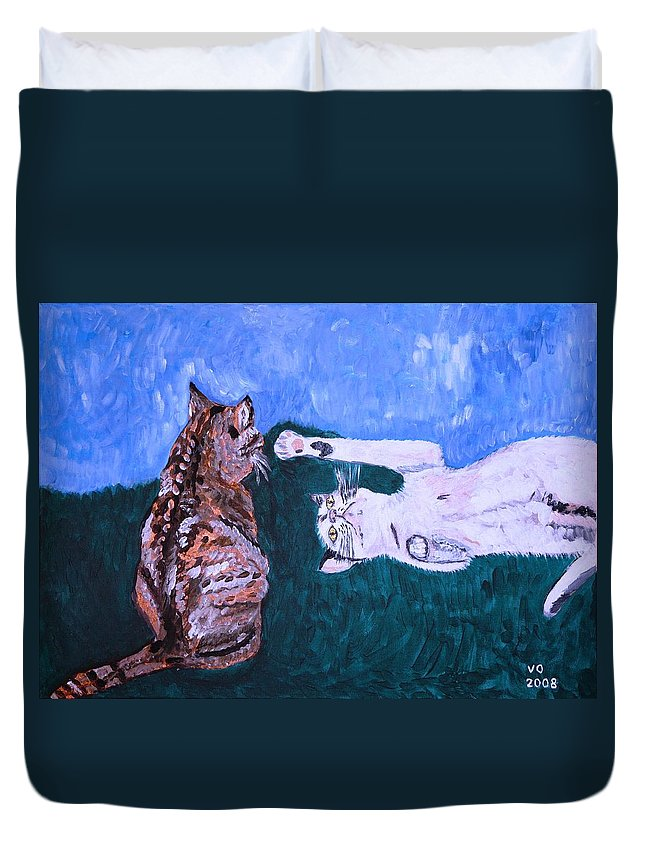 Cat Duvet Cover featuring the painting Want To Play by Valerie Ornstein