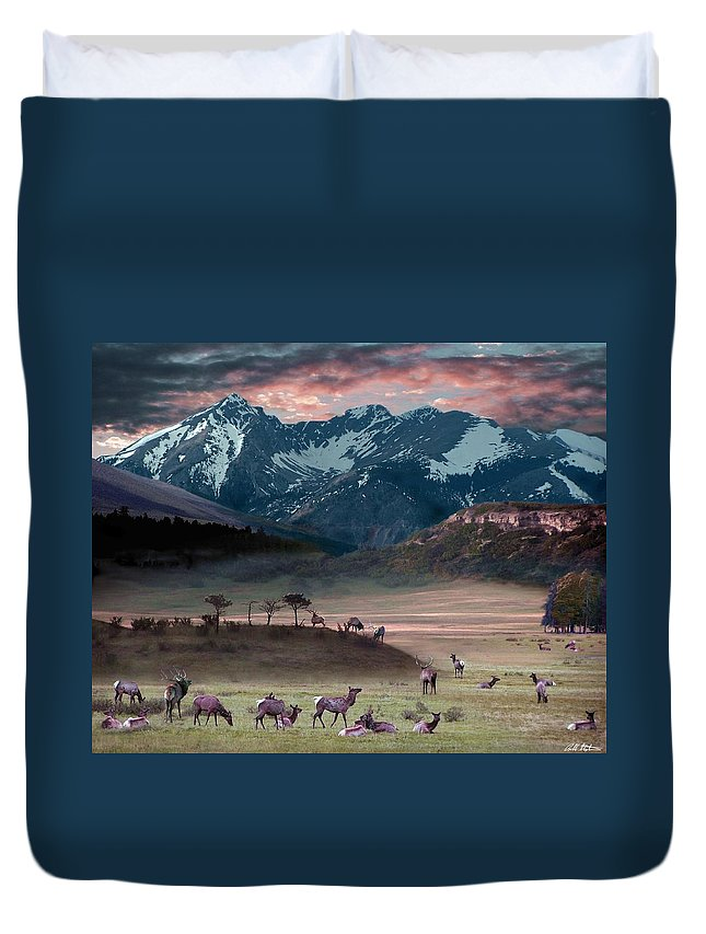 Wildlife Duvet Cover featuring the digital art Wapiti Heaven by Bill Stephens