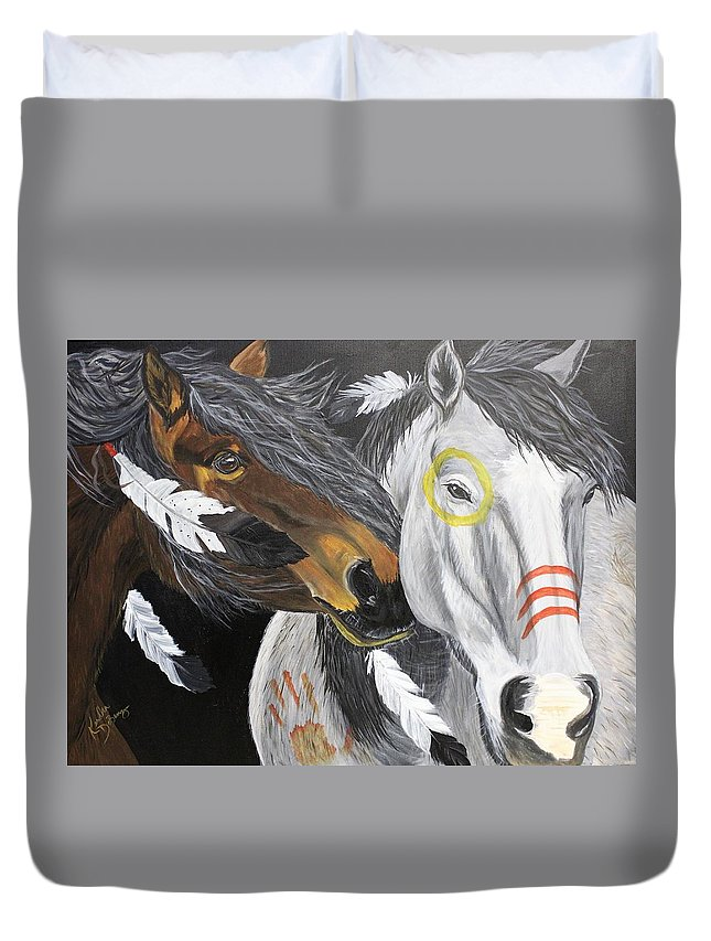 Warhorse Duvet Cover featuring the painting War Horse by Kendra DeBerry