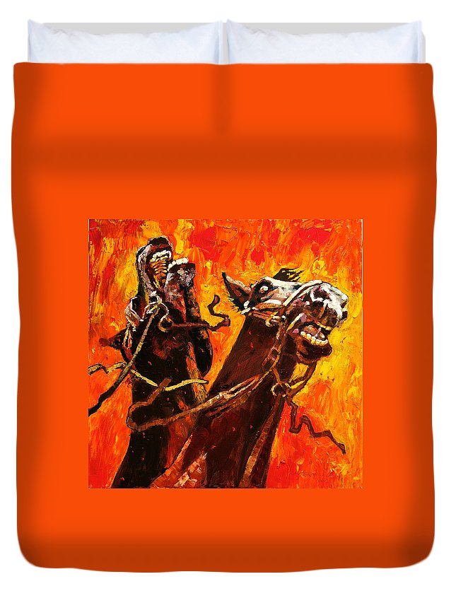 Horses Duvet Cover featuring the painting War Horses by John Lautermilch