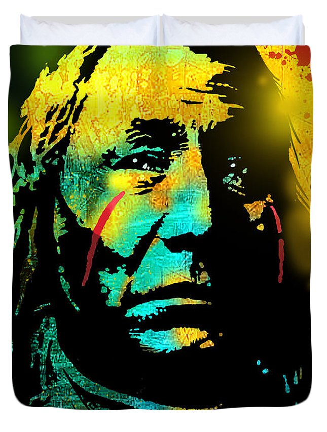Native Americans Duvet Cover featuring the painting War Paint by Paul Sachtleben